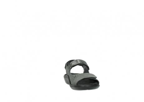 wolky sandalen 1300 salvia 621 antraciet craquele metallic leer_18