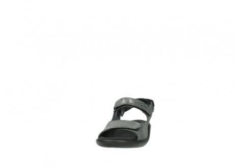 wolky sandalen 1300 salvia 621 antraciet craquele metallic leer_20
