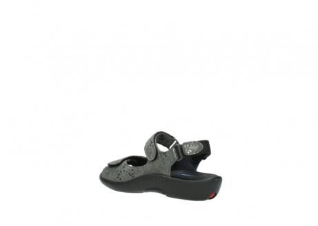 wolky sandalen 1300 salvia 621 antraciet craquele metallic leer_4