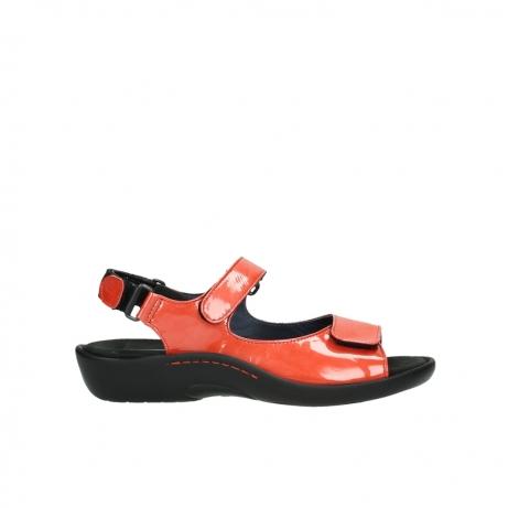 wolky sandalen 1300 salvia 653 koraal rood lakleer