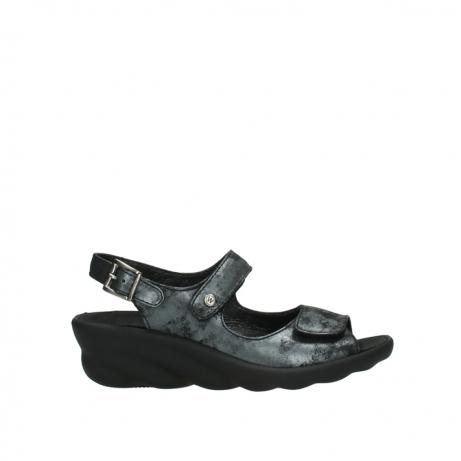 wolky sandalen 3125 scala 100 zwart antraciet geborsteld nubuck