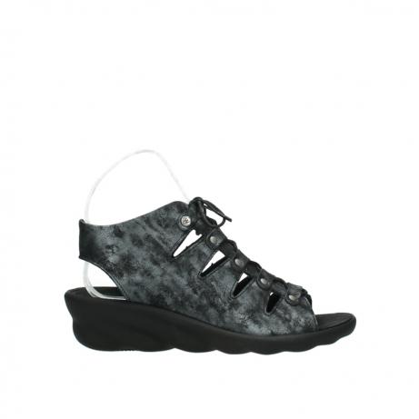 wolky sandalen 3126 arena 100 zwart antraciet geborsteld nubuck