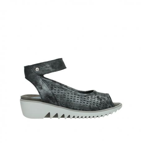 wolky sandalen 3821 frosty 100 zwart antraciet geborsteld nubuck