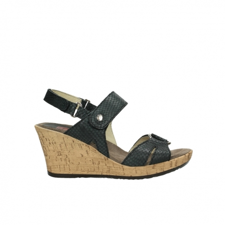 wolky sandalen 4630 mentha 621 antraciet slangenprint leer