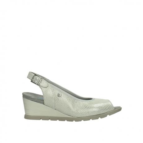 wolky sandalen 4666 collins 212 gebroken wit zilver geprint leer