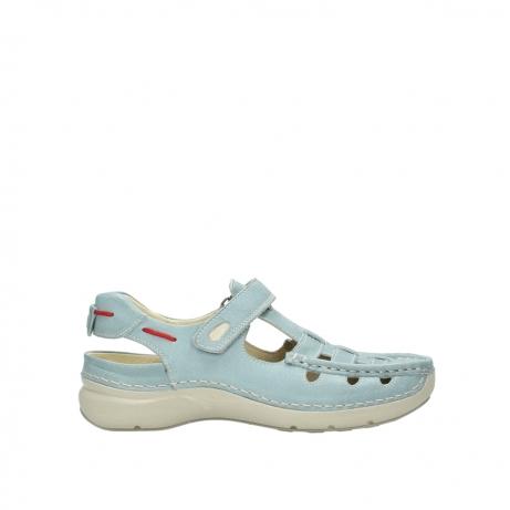 wolky sandalen 7201 rolling summer 378 aqua blauw leer