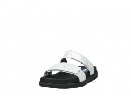 wolky mules 00501 cirrus 70120 cuir blanc casse argent_21