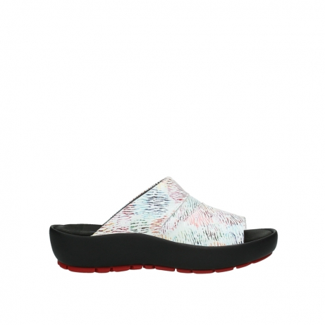 wolky slippers 03326 havana 70980 white multi color canal leather
