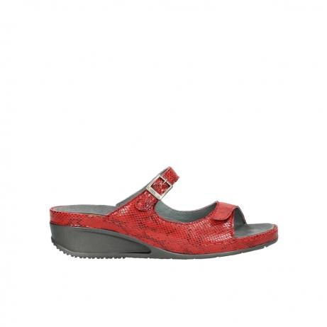 wolky slippers 0426 mundaka 650 rood kaviaarprint leer
