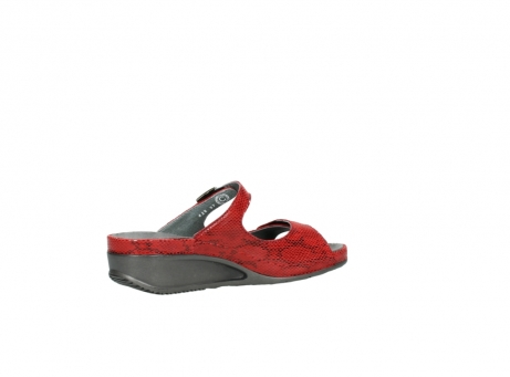 wolky slippers 0426 mundaka 650 rood kaviaarprint leer_11