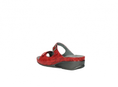 wolky slippers 0426 mundaka 650 rood kaviaarprint leer_4
