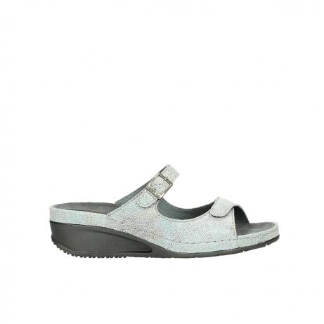 wolky slippers 0426 mundaka 679 mintgroen kaviaarprint leer