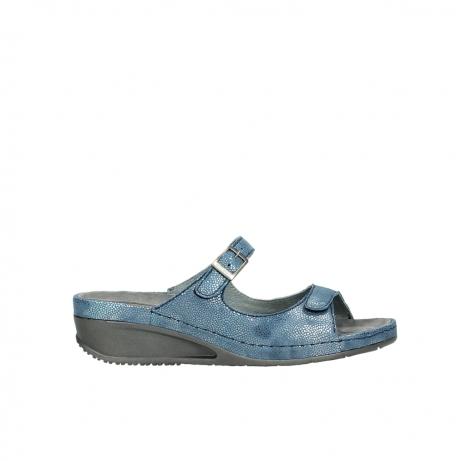 wolky slippers 0426 mundaka 681 oceaan kaviaarprint leer