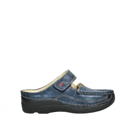 wolky pantoletten 06227 roll slipper 10823 marineblau metallic nubuk