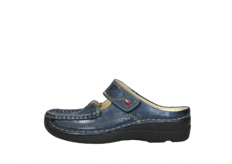 wolky pantoletten 06227 roll slipper 10823 marineblau metallic nubuk_1