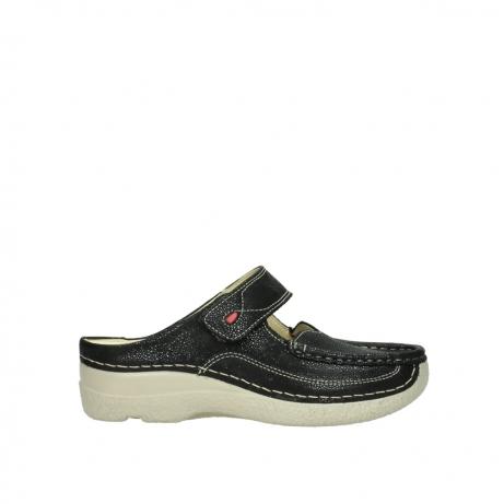 wolky slippers 06227 roll slipper 90070 zwart dots nubuck