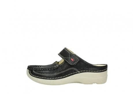 wolky slippers 06227 roll slipper 90070 zwart dots nubuck_1