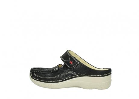 wolky slippers 06227 roll slipper 90070 zwart dots nubuck_2