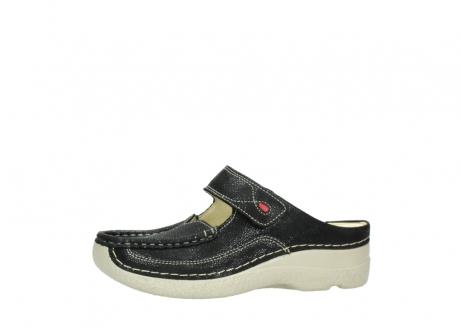 wolky slippers 06227 roll slipper 90070 zwart dots nubuck_24