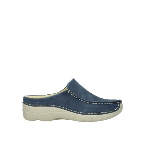 wolky slippers 06250 seamy slide 10820 denim blauw nubuck
