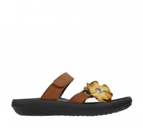 wolky slippers 0883 tahiti flower 543 cognac leer