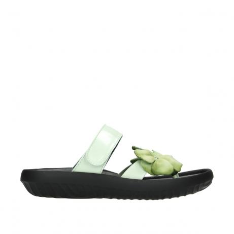 wolky slippers 0883 tahiti flower 679 mint groen lakleer
