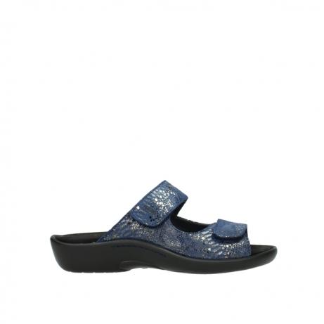 wolky slippers 1301 nepeta 680 blauw slangenprint leer