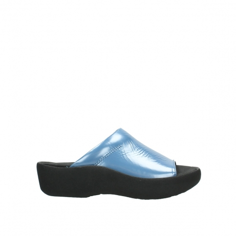 wolky slippers 3201 nassau 682 denim blauw lakleer