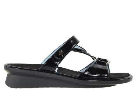 wolky slippers 3307 isa 600 zwart lakleer