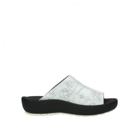 wolky slippers 3326 havana 711 wit zwart canal leer