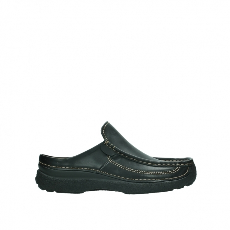 wolky slippers 9210 roll slide men 500 zwart leer