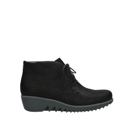 wolky lace up boots 03818 dusky winter 90003 black printed suede