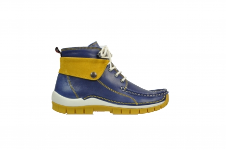 wolky lace up boots 04700 jump 20830 bleu yellow leather