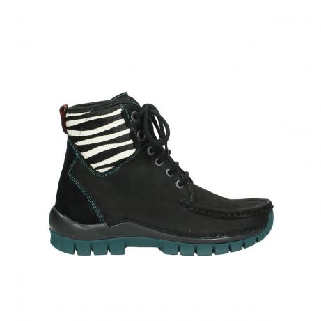 wolky lace up boots 04727 dive winter 50030 black green oiled leather
