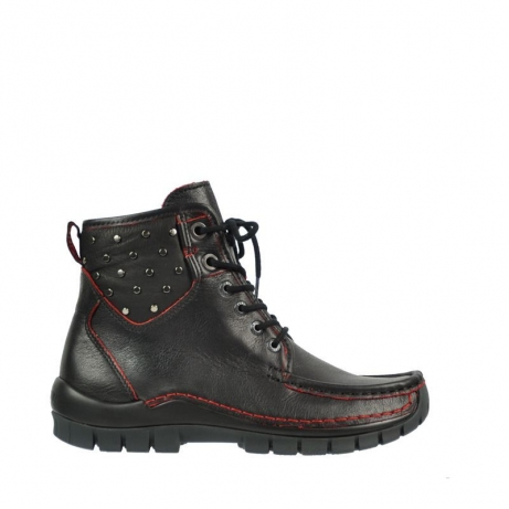 wolky bottines a lacets 04727 dive winter 90050 cuir noir rouge