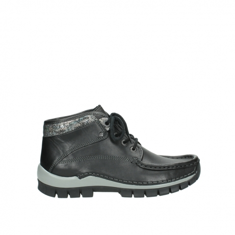 wolky lace up boots 04728 cross winter 20050 black metallic leather