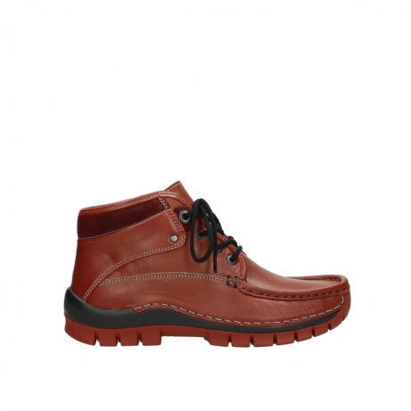 wolky bottines a lacets 04728 cross winter 30540 cuir rouge hiver