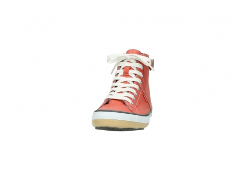 wolky lace up shoes 01225 biker 20530 coral red leather_20