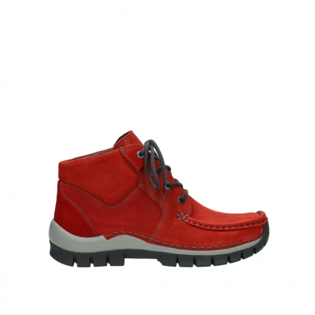 wolky veterschoenen 04735 seamy cross up 11502 papaya rood nubuck
