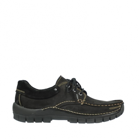 wolky veterschoenen 04750 fly men 50000 zwart leer