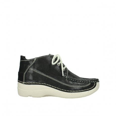 wolky lace up shoes 06200 roll moc 90070 black dots nubuck