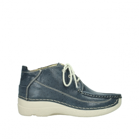 wolky veterschoenen 06200 roll moc 90820 denim blauw dots nubuck