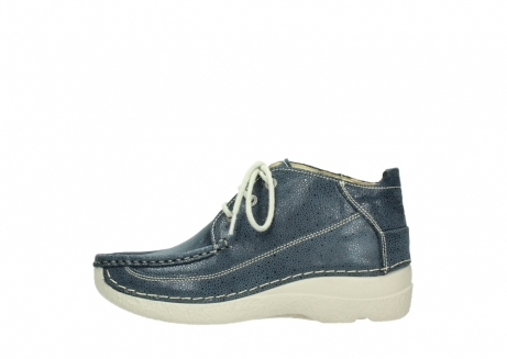 wolky veterschoenen 06200 roll moc 90820 denim blauw dots nubuck_1