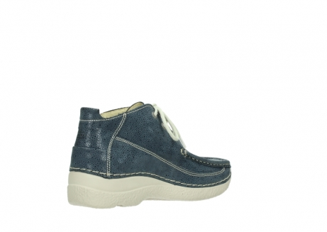 wolky veterschoenen 06200 roll moc 90820 denim blauw dots nubuck_10