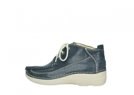 wolky veterschoenen 06200 roll moc 90820 denim blauw dots nubuck_2