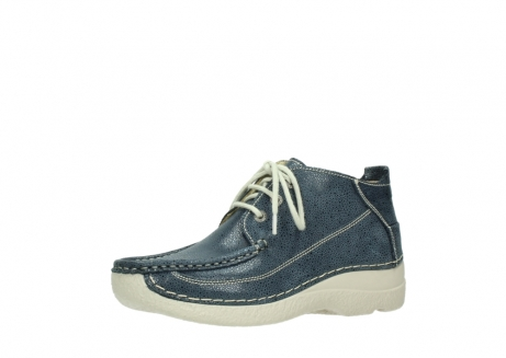 wolky veterschoenen 06200 roll moc 90820 denim blauw dots nubuck_23