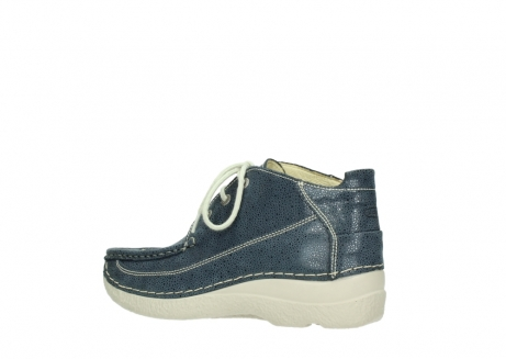 wolky veterschoenen 06200 roll moc 90820 denim blauw dots nubuck_3