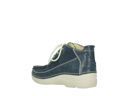 wolky veterschoenen 06200 roll moc 90820 denim blauw dots nubuck_4
