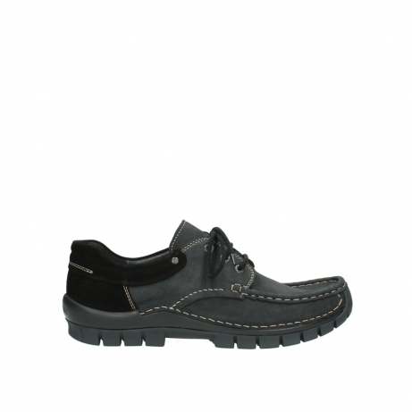 wolky veterschoenen 4750 fly men 100 zwart nubuck