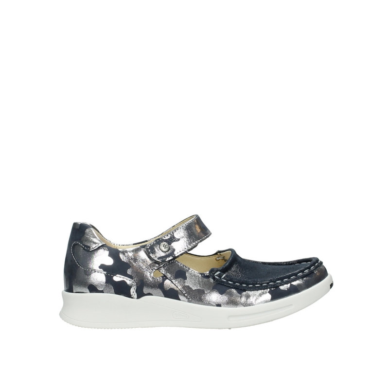 Wolky Bandschoenen 05902 Two - 14870 blauw camouflage stretch